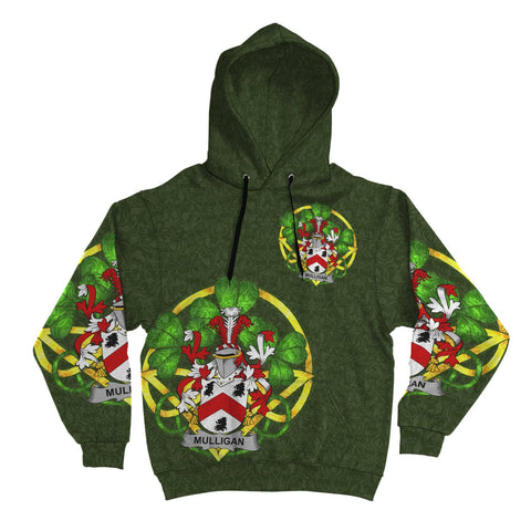 Irish Shamrock Hoodie, Mulligan or O'Mulligan Family Crest Celtic Cross Pullover Hoodie A7