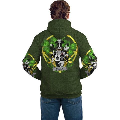 Irish Shamrock Hoodie, Nelson or Nealson Family Crest Celtic Cross Pullover Hoodie A7
