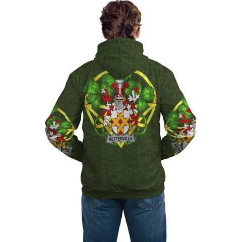 Image of Irish Shamrock Hoodie, Netterville or Netterfield Family Crest Celtic Cross Pullover Hoodie A7