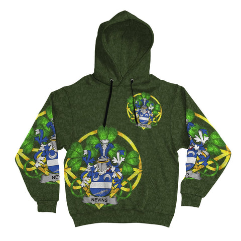 Irish Shamrock Hoodie, Nevins or McNevins Family Crest Celtic Cross Pullover Hoodie A7