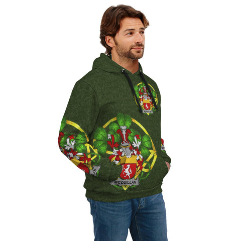 Image of Irish Shamrock Hoodie, Quillan or McQuillan Family Crest Celtic Cross Pullover Hoodie A7