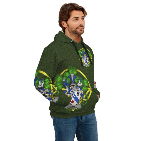 Irish Shamrock Hoodie, Riall or Ryle Family Crest Celtic Cross Pullover Hoodie A7