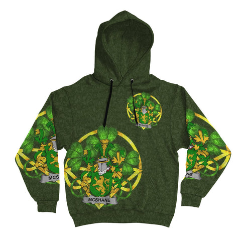 Irish Shamrock Hoodie, Shane or McShane Family Crest Celtic Cross Pullover Hoodie A7