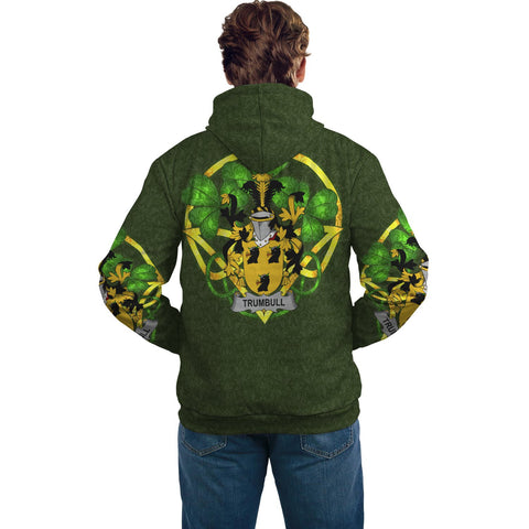 Irish Shamrock Hoodie, Trumbull or Turnbull Family Crest Celtic Cross Pullover Hoodie A7