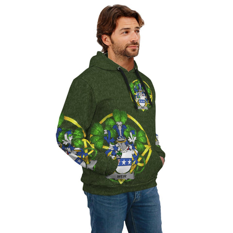 Image of Irish Shamrock Hoodie, Weir or McWeir Family Crest Celtic Cross Pullover Hoodie A7