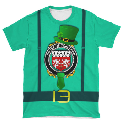 Irish Shirt, Corcoran or McCorcoran Family Crest Saint Patrick's Day T-Shirt