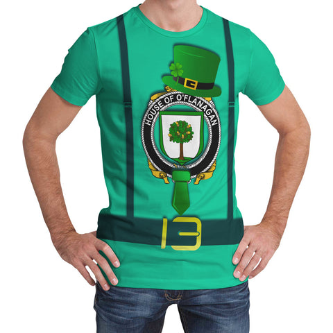 Image of Irish Shirt, Flanagan or O'Flanagan Family Crest Saint Patrick's Day T-Shirt