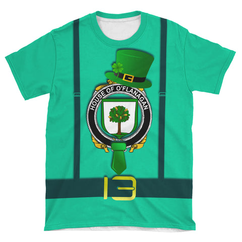 Irish Shirt, Flanagan or O'Flanagan Family Crest Saint Patrick's Day T-Shirt