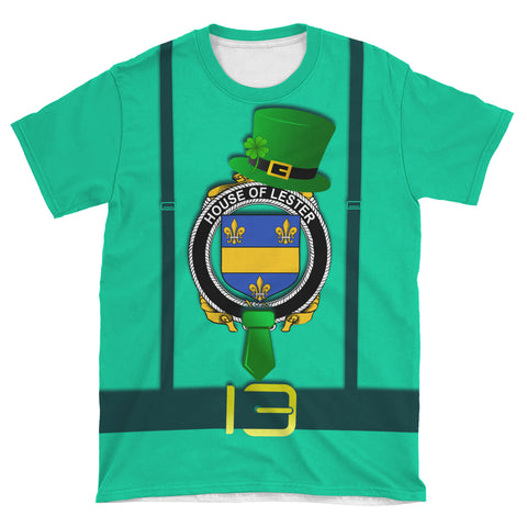 Irish Shirt, Lester or McAlester Family Crest Saint Patrick's Day T-Shirt