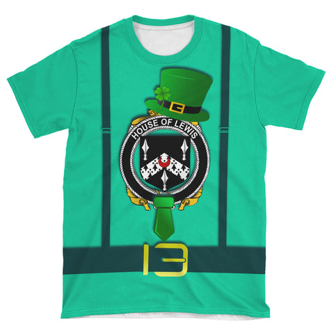 Irish Shirt, Lewis Family Crest Saint Patrick's Day T-Shirt