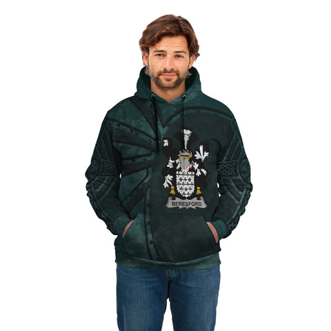 Ireland Surname Hoodie, Beresford Family Crest Coat Of Arms Pullover Hoodie Ridire Style