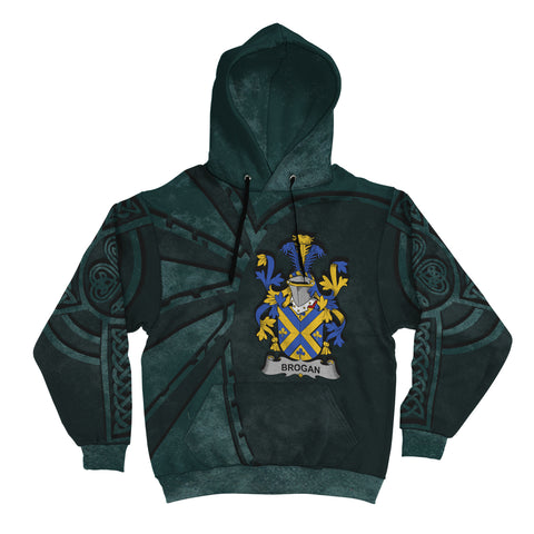 Ireland Surname Hoodie, Brogan or O'Brogan Family Crest Coat Of Arms Pullover Hoodie Ridire Style