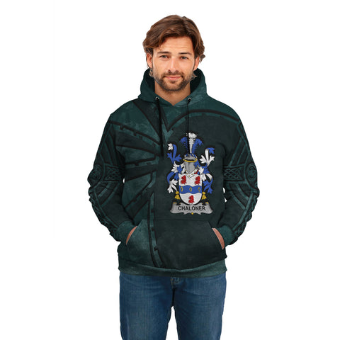 Ireland Surname Hoodie, Chaloner Family Crest Coat Of Arms Pullover Hoodie Ridire Style