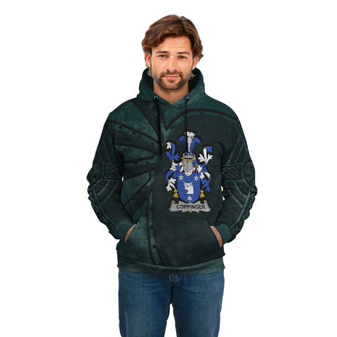 Ireland Surname Hoodie, Coppinger Family Crest Coat Of Arms Pullover Hoodie Ridire Style