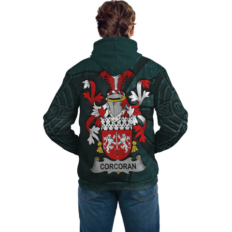 Image of Ireland Surname Hoodie, Corcoran or McCorcoran Family Crest Coat Of Arms Pullover Hoodie Ridire Style