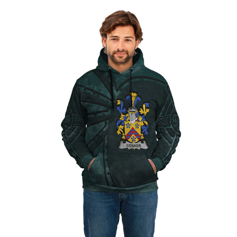 Ireland Surname Hoodie, Cosker or McCosker Family Crest Coat Of Arms Pullover Hoodie Ridire Style