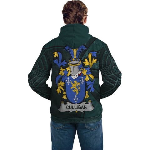 Ireland Surname Hoodie, Culligan or McColgan Family Crest Coat Of Arms Pullover Hoodie Ridire Style