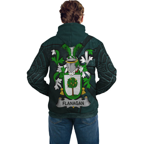 Image of Ireland Surname Hoodie, Flanagan or O'Flanagan Family Crest Coat Of Arms Pullover Hoodie Ridire Style
