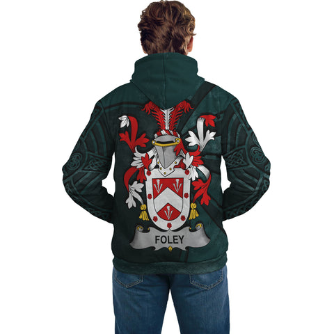 Ireland Surname Hoodie, Foley Family Crest Coat Of Arms Pullover Hoodie Ridire Style