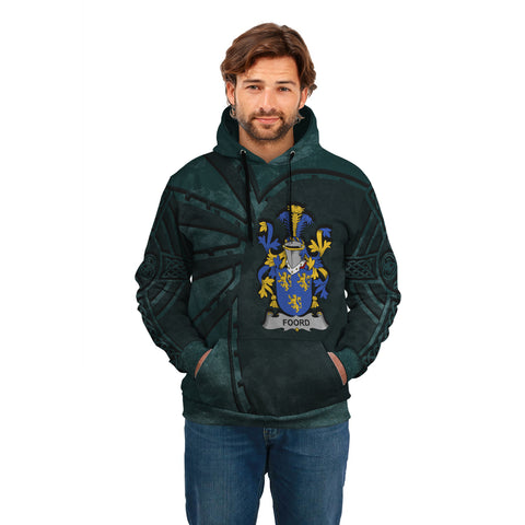 Image of Ireland Surname Hoodie, Foord Family Crest Coat Of Arms Pullover Hoodie Ridire Style