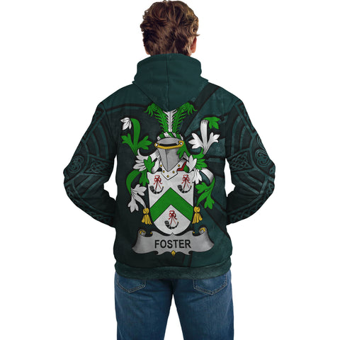 Image of Ireland Surname Hoodie, Foster Family Crest Coat Of Arms Pullover Hoodie Ridire Style