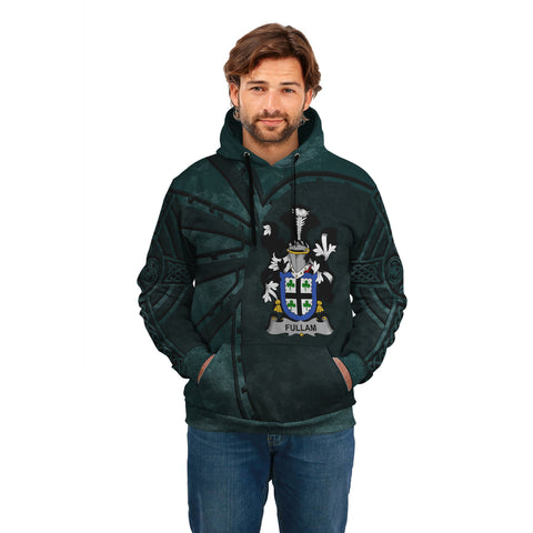 Image of Ireland Surname Hoodie, Fullam Family Crest Coat Of Arms Pullover Hoodie Ridire Style