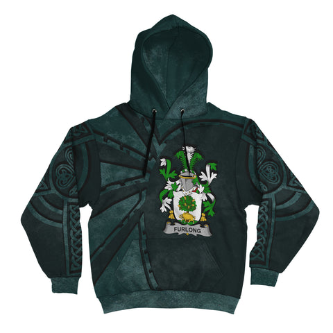 Ireland Surname Hoodie, Furlong Family Crest Coat Of Arms Pullover Hoodie Ridire Style