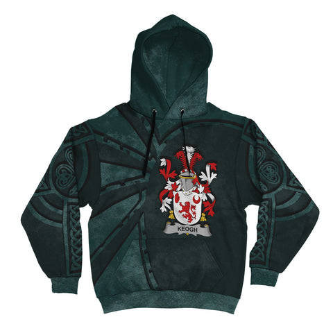 Ireland Surname Hoodie, Keogh or McKeogh Family Crest Coat Of Arms Pullover Hoodie Ridire Style