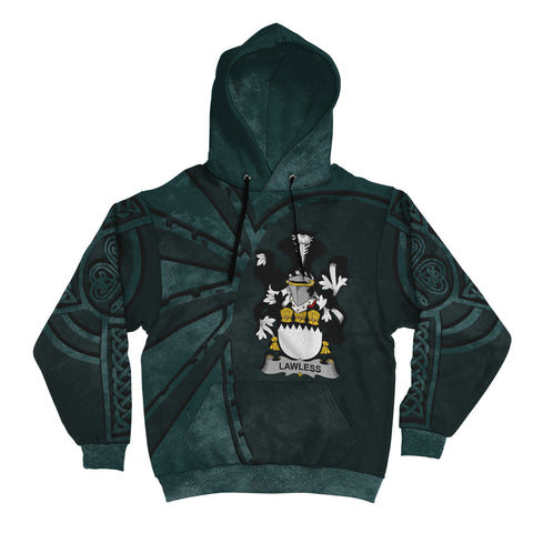 Ireland Surname Hoodie, Lawless Family Crest Coat Of Arms Pullover Hoodie Ridire Style