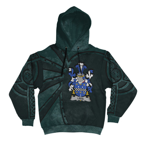 Image of Ireland Surname Hoodie, Lees or McAleese Family Crest Coat Of Arms Pullover Hoodie Ridire Style
