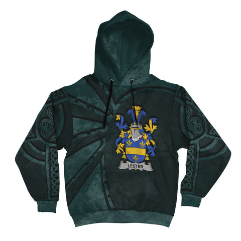Image of Ireland Surname Hoodie, Lester or McAlester Family Crest Coat Of Arms Pullover Hoodie Ridire Style
