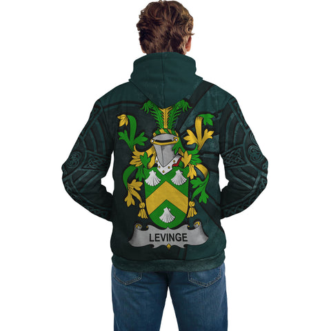 Image of Ireland Surname Hoodie, Levinge or Levens Family Crest Coat Of Arms Pullover Hoodie Ridire Style
