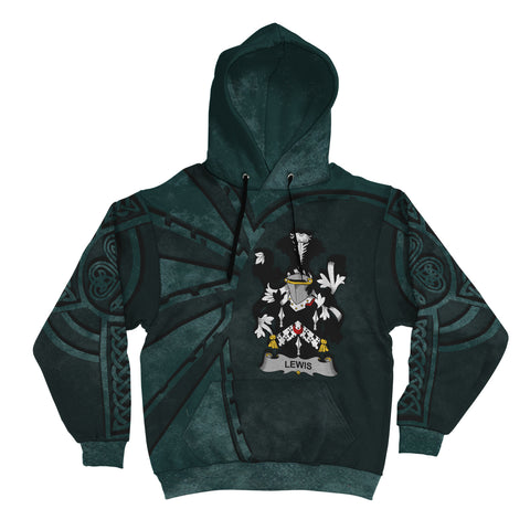 Image of Ireland Surname Hoodie, Lewis Family Crest Coat Of Arms Pullover Hoodie Ridire Style