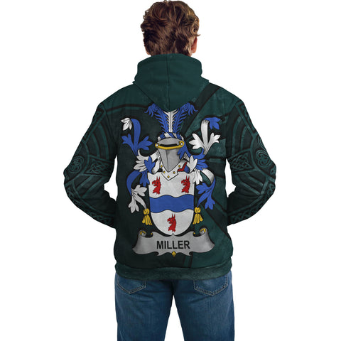 Ireland Surname Hoodie, Miller Family Crest Coat Of Arms Pullover Hoodie Ridire Style