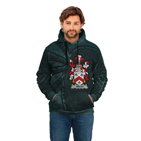 Ireland Surname Hoodie, Walsh Family Crest Coat Of Arms Pullover Hoodie Ridire Style