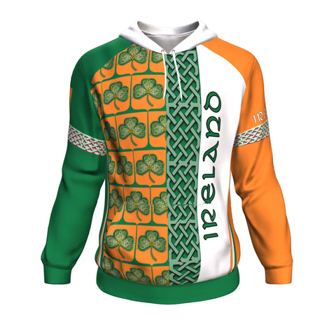 Ireland Vibes Hoodie - Green And Orange Color - Front