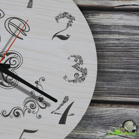 Shamrock Wooden Wall Clock Premium