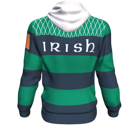 Rugby Hoodie - Croker Green and Navy Traditional - Green - Back - For Men and Women