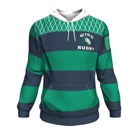 Rugby Hoodie - Croker Green and Navy Traditional - Green - Front - For Men and Women
