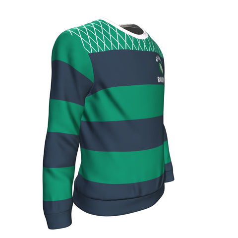 Rugby Sweatshirt - Croker Green and Navy Traditional - Green - Front and Sleeves - For Men and Women