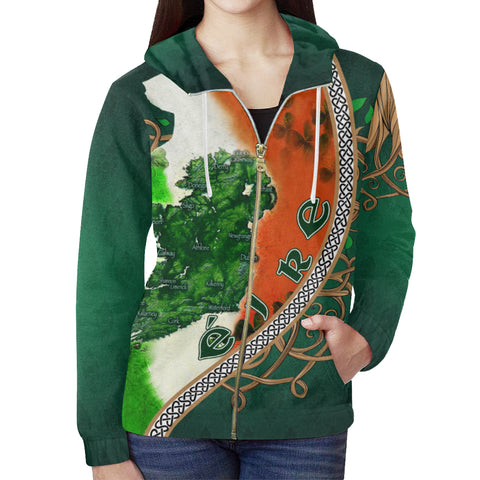 Ireland Zip Hoodie - Éire Map with Celtic Style - Green - Front - For Women