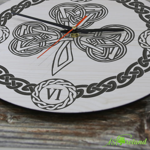 Image of Shamrock Celtic Wooden Wall Clock