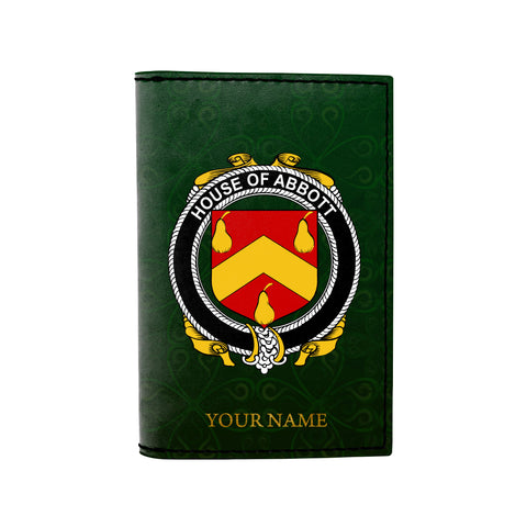 (Laser Personalized Text) Abbott Family Crest Minimalist Wallet