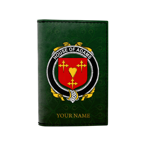 (Laser Personalized Text) Adams Family Crest Minimalist Wallet