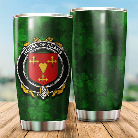 Image of Adams Family Crest Ireland Shamrock Tumbler Cup  K6