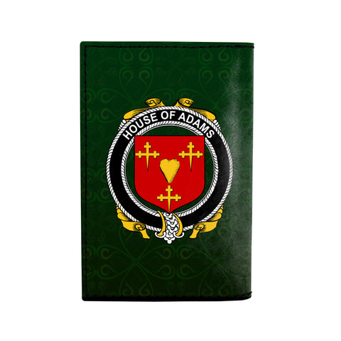 (Laser Personalized Text) Adams Family Crest Minimalist Wallet K6