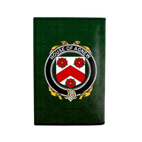 (Laser Personalized Text) Agnew Family Crest Minimalist Wallet K6
