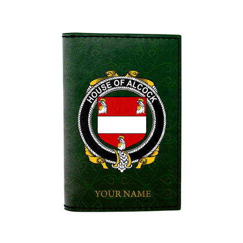(Laser Personalized Text) Alcock Family Crest Minimalist Wallet