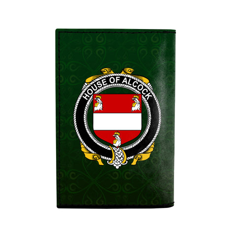 (Laser Personalized Text) Alcock Family Crest Minimalist Wallet K6