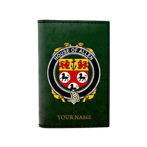 (Laser Personalized Text) Allen Family Crest Minimalist Wallet